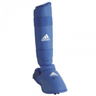 Adidas WKF shinguard with removable foot blue