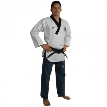 Adidas Poomsae taekwondo suit men white/dark blue