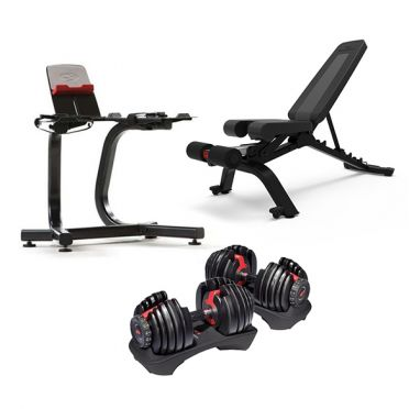 Bowflex 552i S selecttech dumbbellset 23,8 kg + dumbbell stand + bench