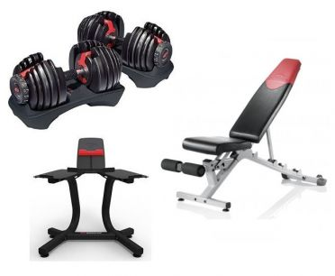 Bowflex 1090i S selecttech dumbbellset 40,8 kg + dumbbell stand + bench