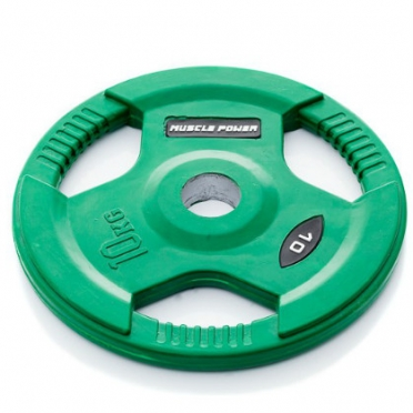 Muscle Power Olympic disc 10 kg rubber covered Ø 50 mm green