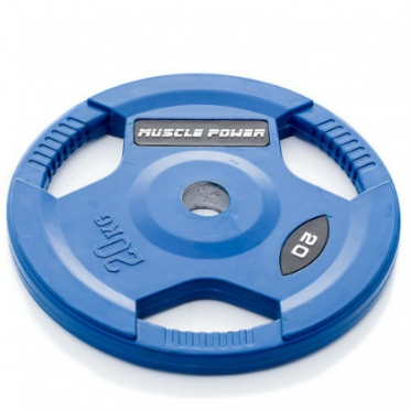 Muscle Power Olympic disc 20 kg rubber covered Ø 50 mm Blue