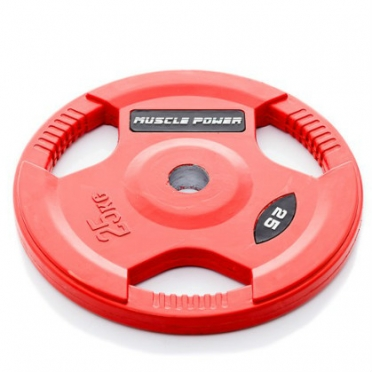 Muscle Power Olympic disc 25 kg rubber covered Ø 50 mm Red