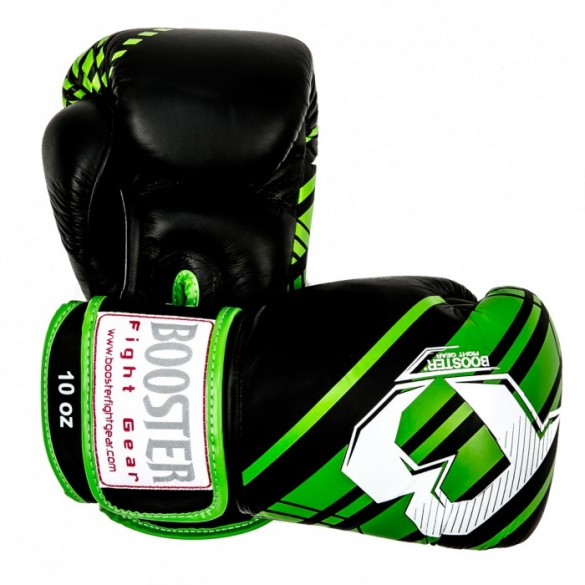 Booster Pro Range BGL V4 leather boxing gloves black/green  BGL1-V4-zg