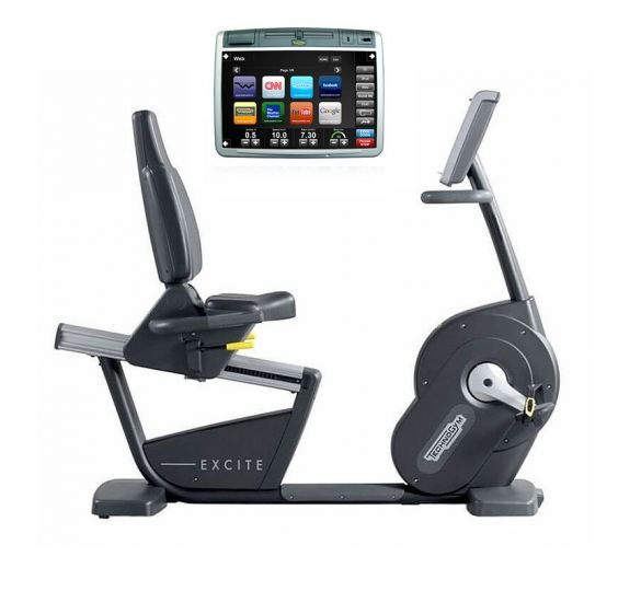TechnoGym recumbent bike Recline Excite+ 700 Visioweb black used  BBTGNRE700VLCDTVIZW