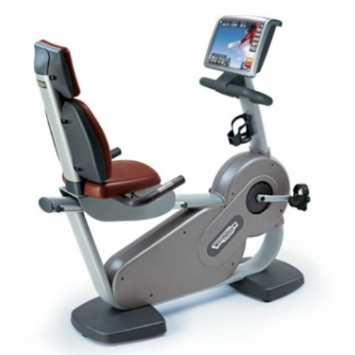 TechnoGym recumbent bike Recline Excite 700i.e classic silver with LCD TV used  BBTGRCE700IeCLCDTV