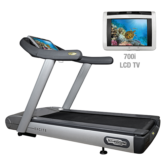 TechnoGym treadmill Run Excite 700i.e classic silver with LCD TV used  BBTGRE700IeCLCDTV